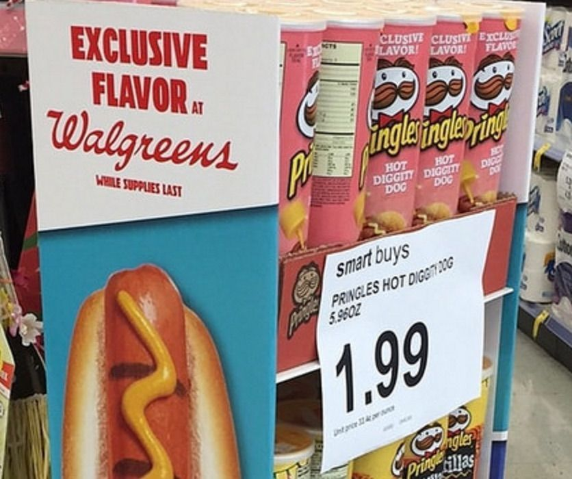 Try 'em, the cardboard shelves on this Pringles display whisper to passing shoppers. The display promotes a new Walgreens-exclusive, limited-edition flavor: Hot Diggity Dog, which tastes like h... #cardboardshelves Try 'em, the cardboard shelves on this Pringles display whisper to passing shoppers. The display promotes a new Walgreens-exclusive, limited-edition flavor: Hot Diggity Dog, which tastes like h... #cardboardshelves