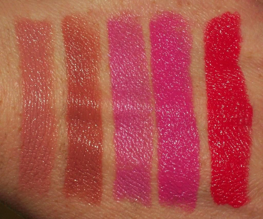 WET N WILD PERFECT POUT LIPCOLOR SWATCHES, THOUGHTS, AND PHOTOS (FERGIE COLLECTION) Fergie Daily, Bebot Love, VI Pink, Penthouse Sweet, Old School Glam