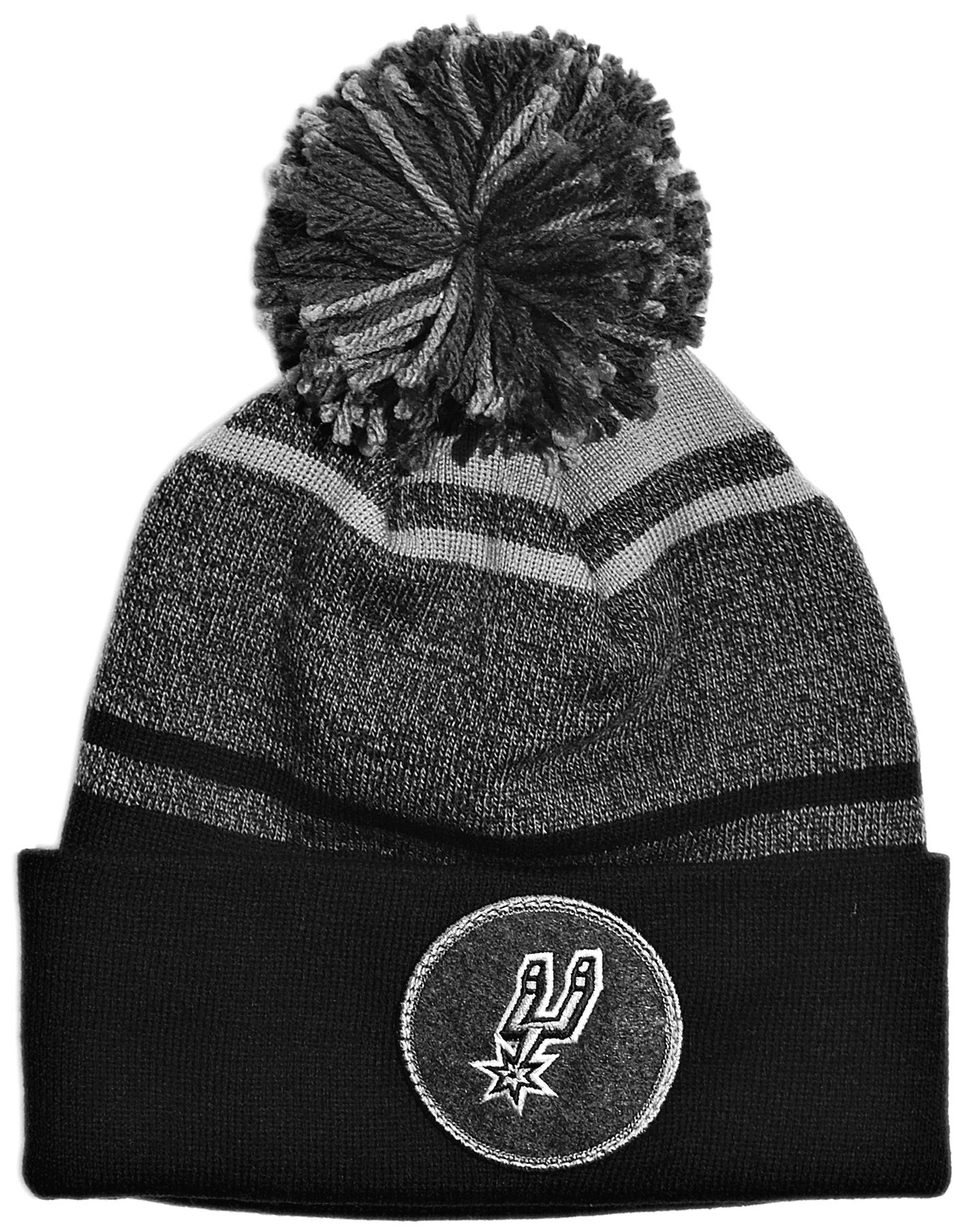 5a6c8400e2a Mitchell   Ness x NBA -  San Antonio Spurs - NBA Current Logo Heather  Stripe Cuffed Knit Pom  (Winter Beanie Hat)
