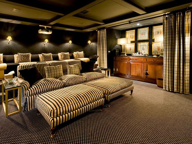 Stylish Stripes  15 Cool Home Theater Design Ideas | Digsdigs