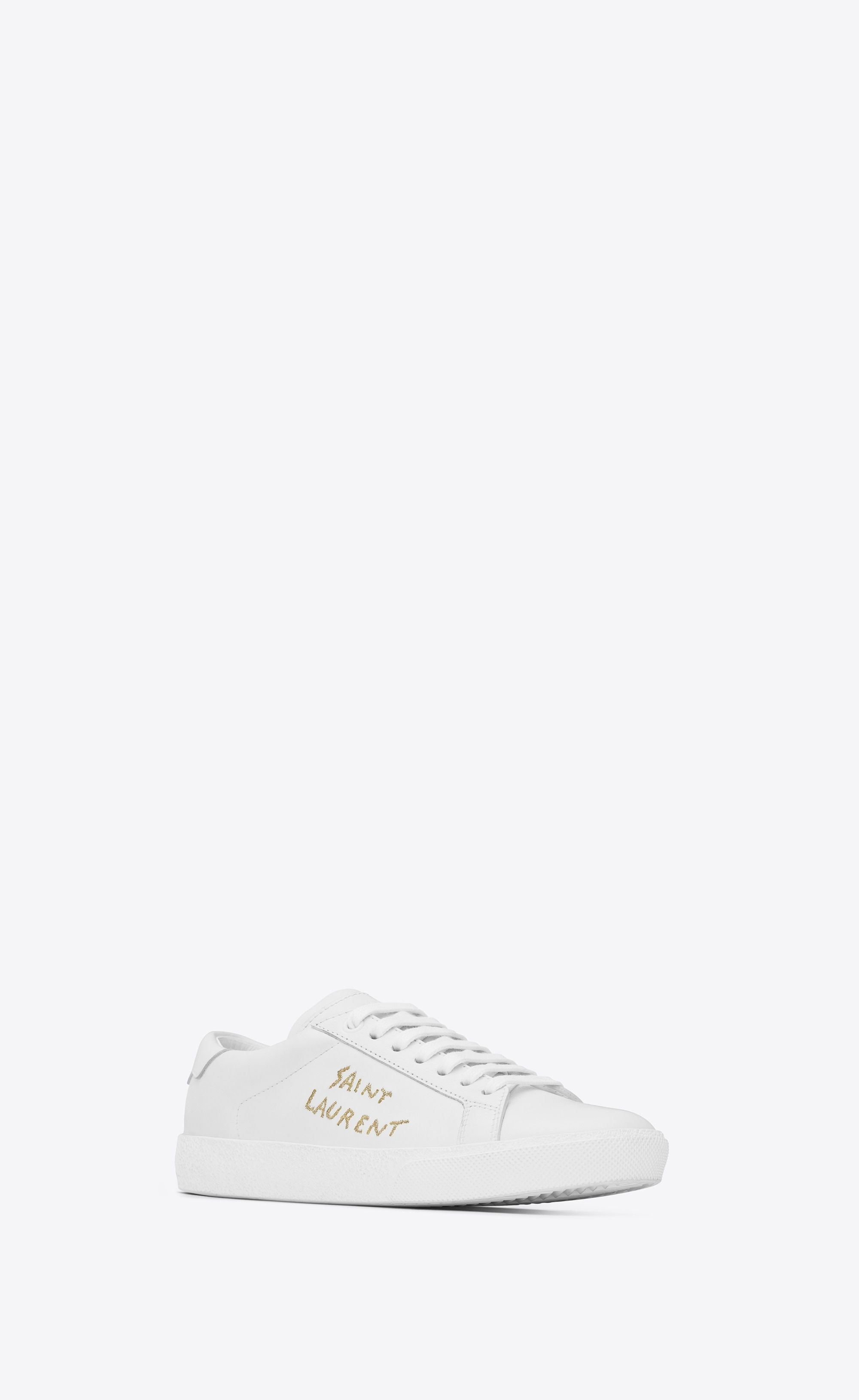 141aa0cfa2a Saint Laurent - Court Classic SL/06 sneaker in optic white leather and gold  embroidery