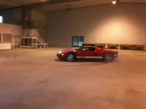 Ford Gt Supercar Drifting Donuts In An Airport Hangar Youtube