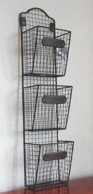 Superior Shabby Vintage Chic 3 Iron Wire Basket Wall Storage Unit Shelving