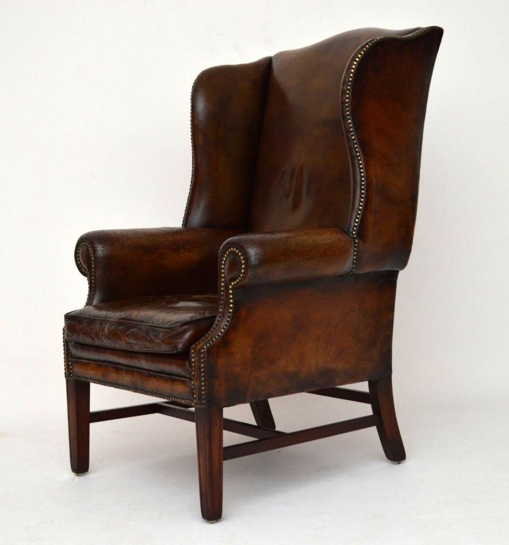 Antik Sessel Leather Wing Back Chair Stühle Armchair Metal Dining Chairs