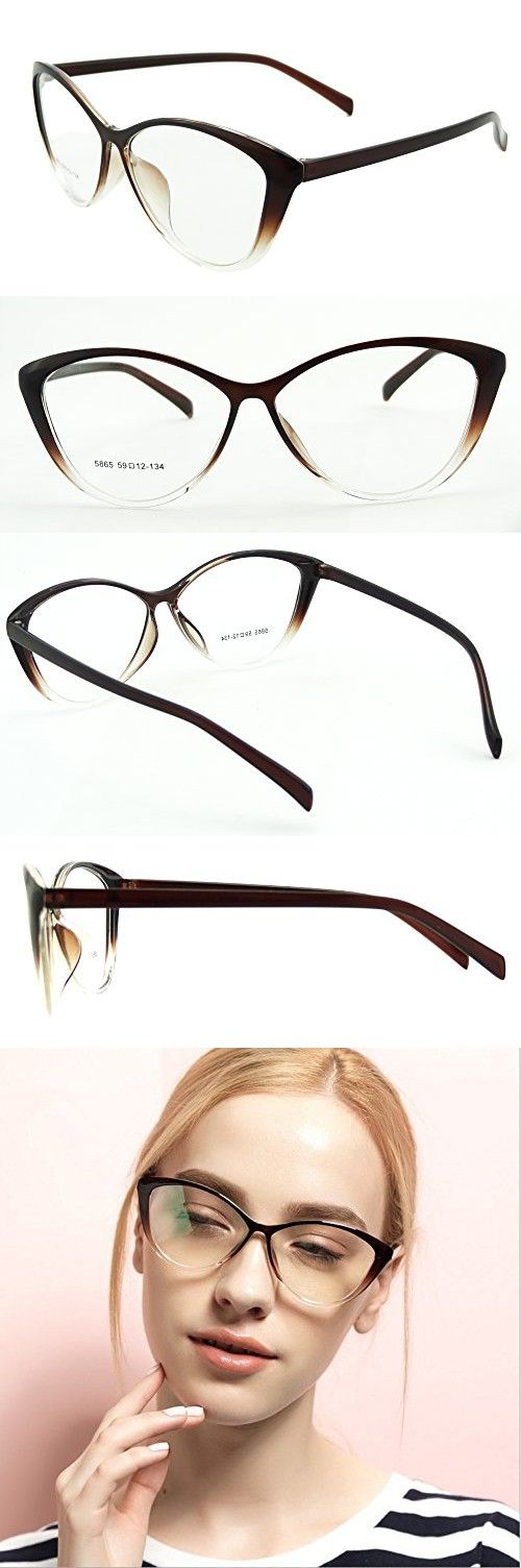 a63b0db12542 Ladies Cateye Glasses Frames Blue Blocking Clear Lens Computer Reading  Glasses-5865(light brown