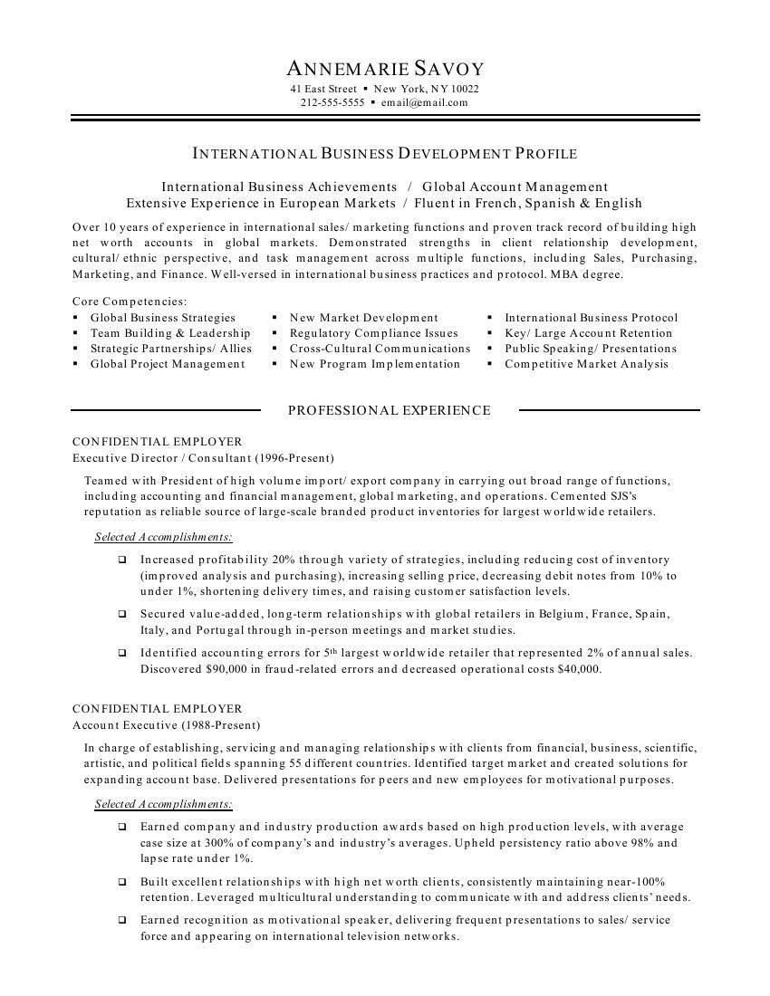 international business resume objective international business