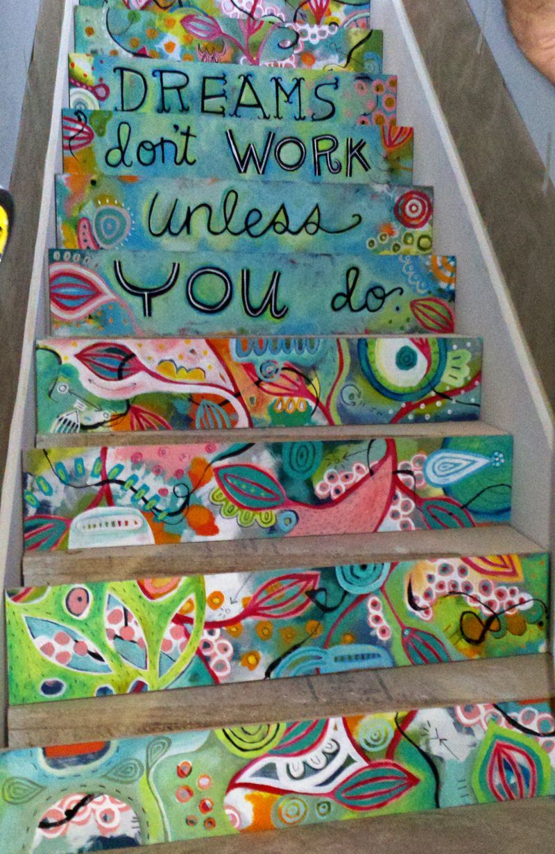 Enjoyable Wooden Steps.  Dreams don t work unless you do painted on stair steps Painting Basement Step LOVE this from Michelle Allen Maybe I can talk Courtney