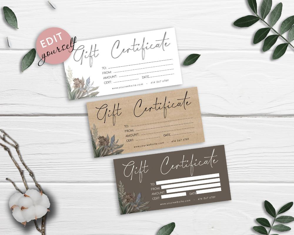 Diy Gift Certificate Template Printable Gift Card Gift Voucher Certificate Gc02 Printable Gift Cards Gift Certificate Template Printable Gift
