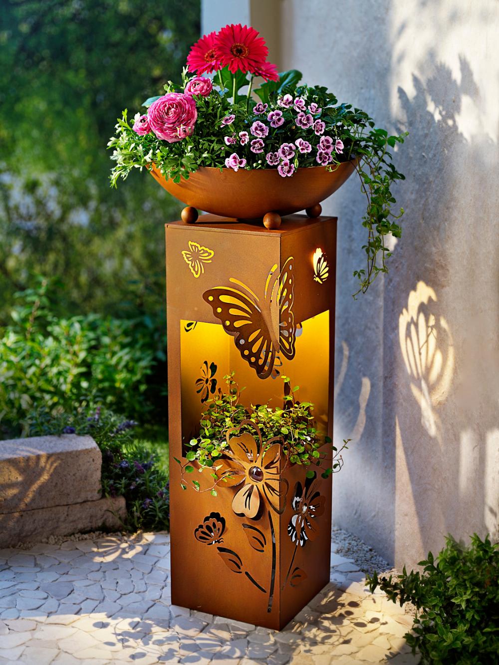 Pflanzsaule Butterfly Mit Led Beleuchtung Dekohauseingang Garden Figures Garden Pots