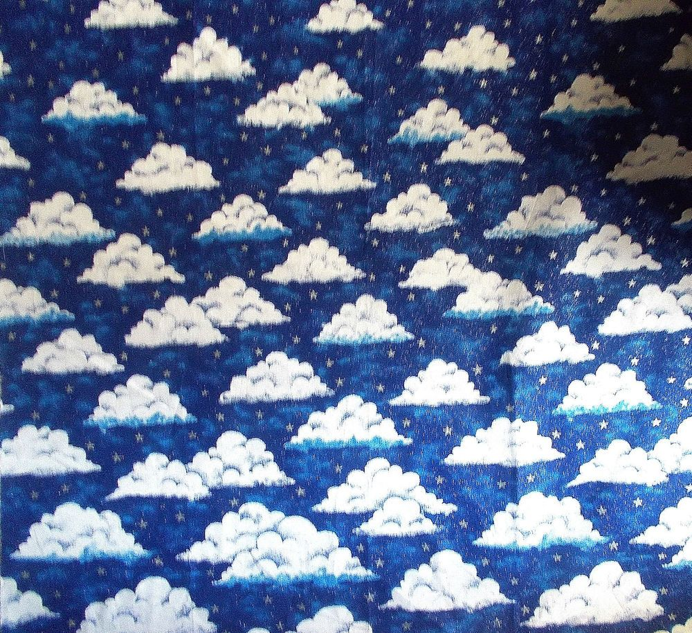 Sky Clouds silver stars Celestial glitter sewing fabric traditions 1999 cotton  #FabricTraditions
