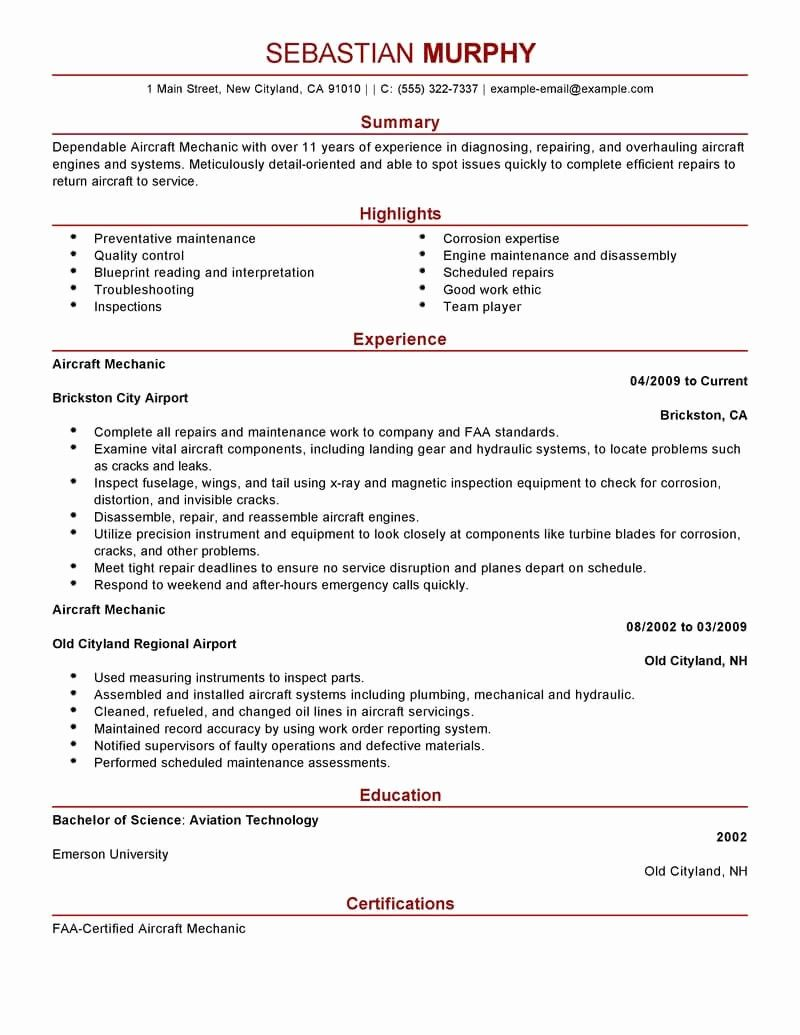 Elegant Best Aircraft Mechanic Resume Example in 2020