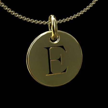 cut out initial letter e 14k gold disc pendant necklace 24900 pendant necklace