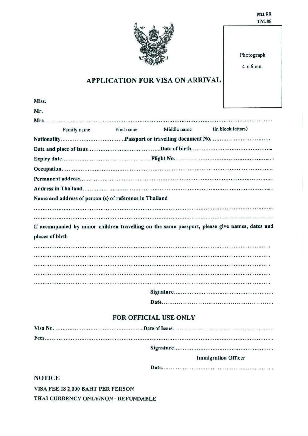 thailand visa on arrival form 2019 pdf download