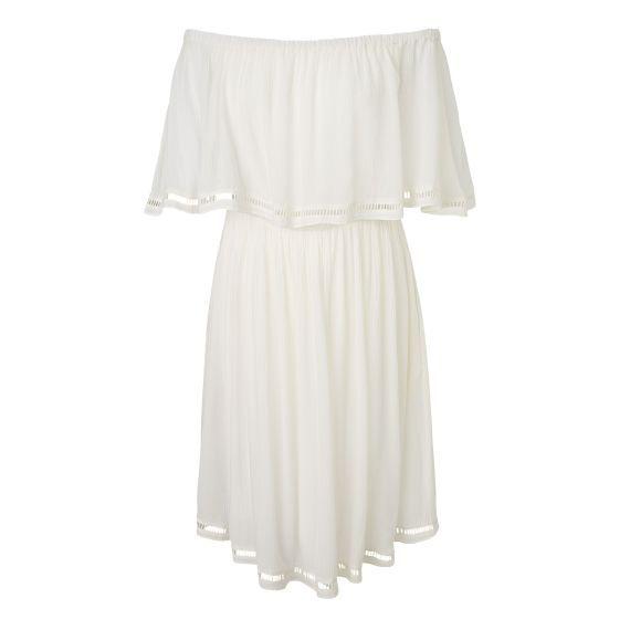 Kleid, Carmen-Ausschnitt, mit Unterkleid Vorderansicht