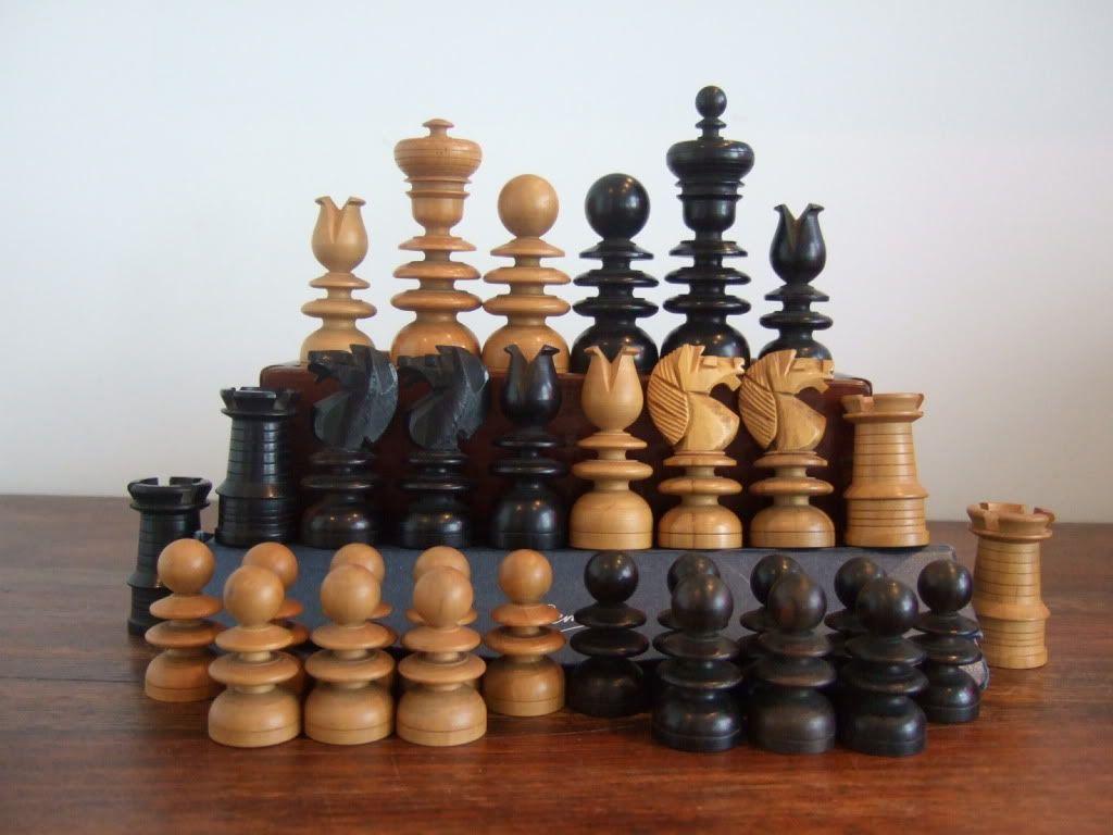 Antique Turned Wood Chess Set