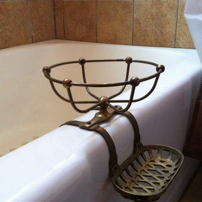 Antique Victorian Brass Bath Tub Soap Dish Sponge Holder Vintage