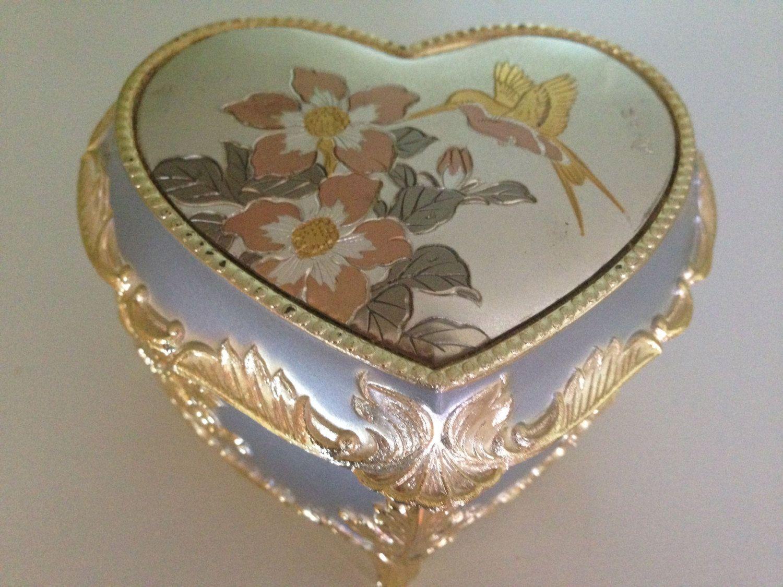 Stunning Chokin Art Heart Music Box Gold Silver Hummingbird Etsy Music Box Vintage Music Box Silver Hummingbird