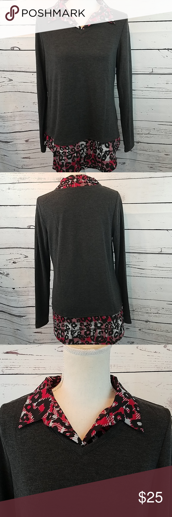 New Charcoal Sweater Blouse Combo Top Medium Boutique My Posh