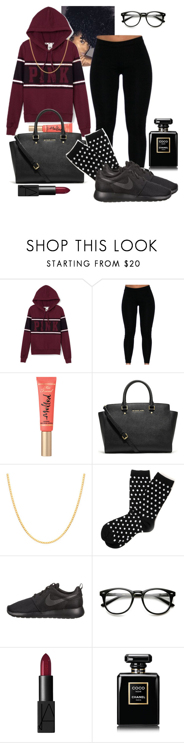 """""""Untitled #140"""" by classycam ❤ liked on Polyvore featuring Victoria's Secret PINK, Too Faced Cosmetics, Michael Kors, Sterling Essentials, Hansel from Basel, NIKE, NARS Cosmetics and Chanel"""