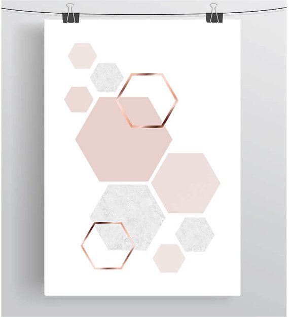 Blush Print Copper Wall Art Rose Gold Print Hexagon Poster
