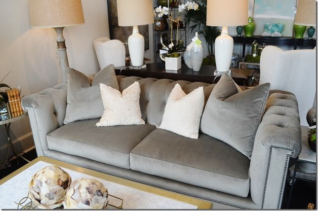 Whats New Wednesday Velvet Tufted Sofa Available Through Heather Scott Home Design