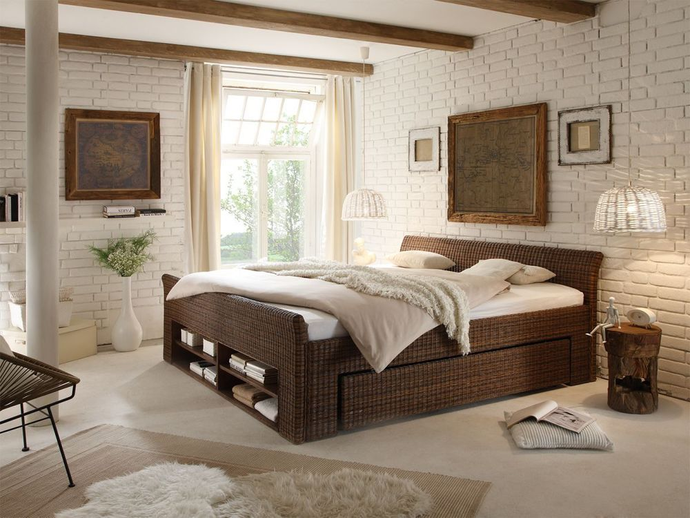 grand lit 2 personnes 180x200 rotin marron colonial rangement chambre erato house ideas. Black Bedroom Furniture Sets. Home Design Ideas