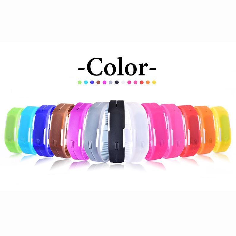 Creative Digital Calendar new led watch men women watches colorful rubber creative digital