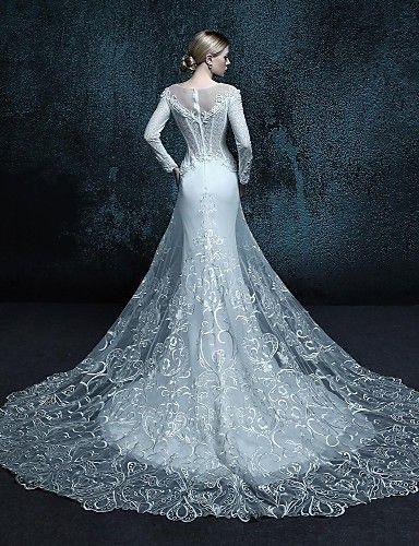 A-line Chapel Train Wedding Dress - Scoop Lace | Pinterest | Chapel ...
