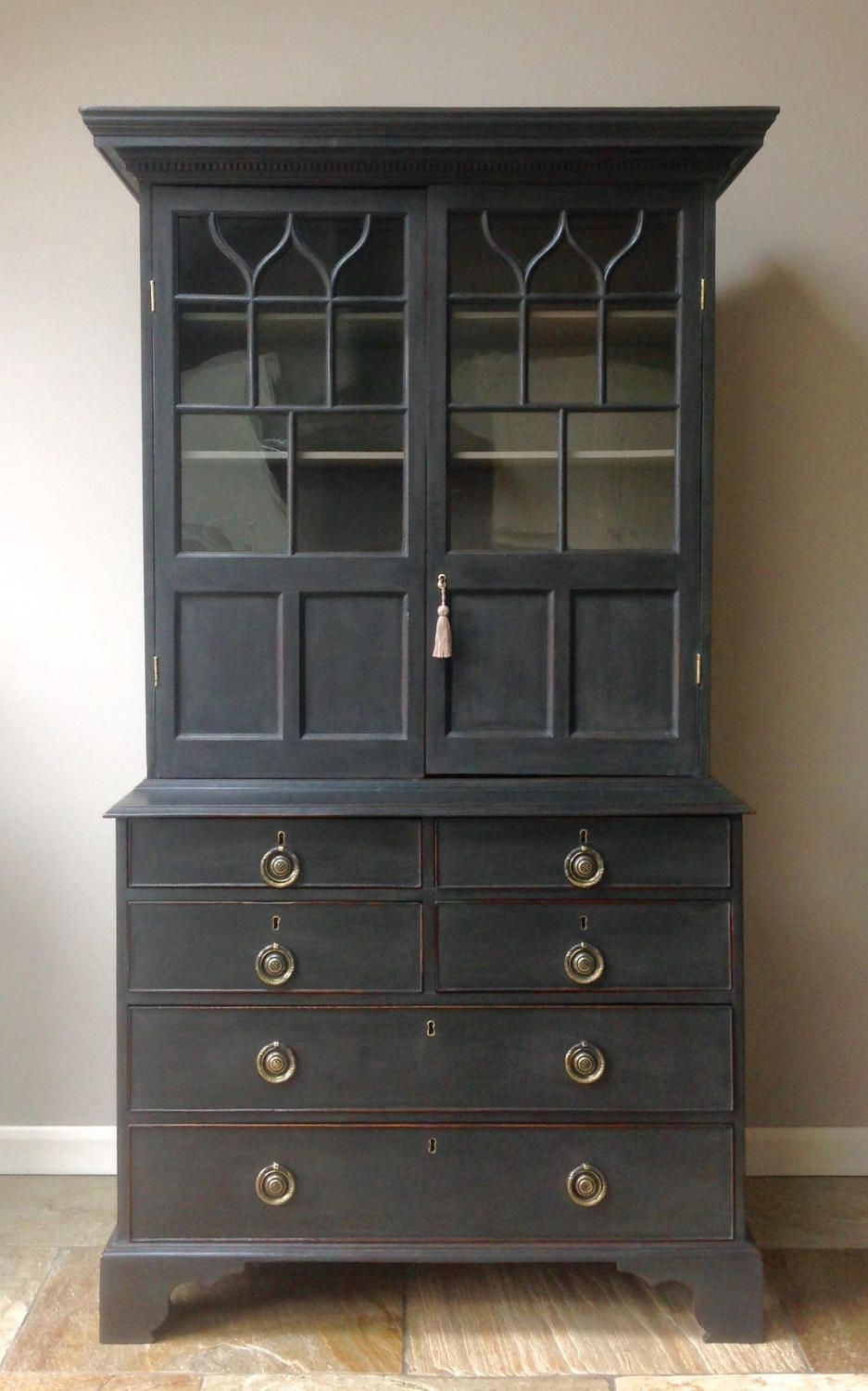 Antique Edwardian 19th Century Astragal Glazed Bookcase Cupboard Welsh Dresser Display Cabinet Handpainted Annie Sloan Black