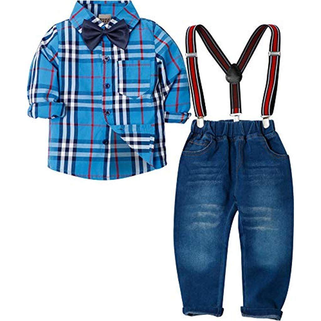 Zoerea Baby Jungen Bekleidungssets Hosen Shirt Gentleman Hosenträger Krawatte J…