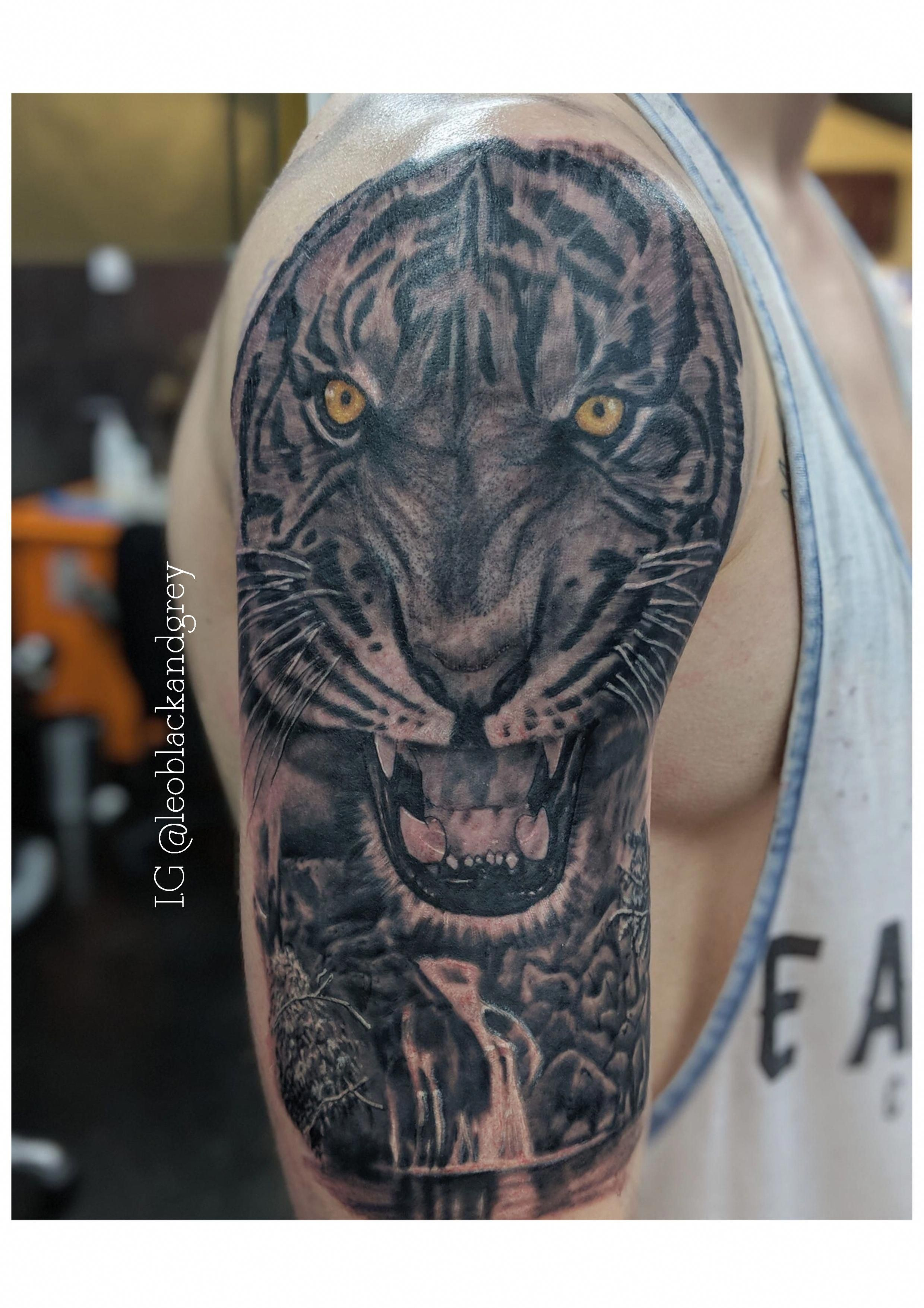 Tiger Waterfall Tattoo Sleeve For Men Topmenstattoos Waterfall Tattoo Tattoos For Guys Cool Tattoos For Guys