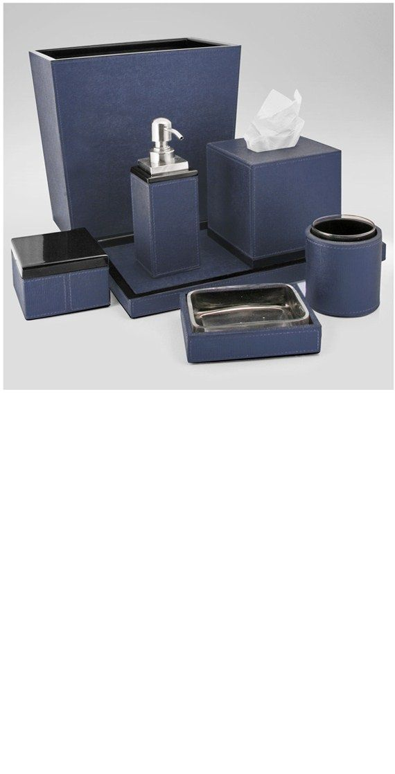 Christmas Gift Ideas, Blue Faux Leather Bathroom Set. Luxury Bathroom Sets,  Accessories From