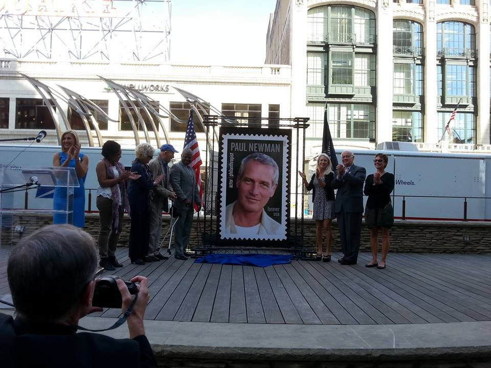 Great Day In Cleveland For The USPS To Issue Paul Newman Stamp A Man That Is His Daughter Clea Standing Just Right Of