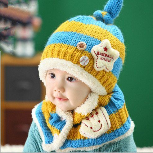 Aliexpress.com   Buy Kids Winter Cap Shawl Set for 6 Months to 4 Years Baby  Boys Girls Knitting Woolen Striped Hat Scarf Very Warm Children Bee Caps  from ... 2b24c49af083