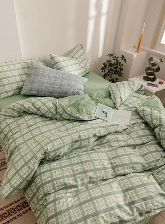 Lattice Cotton Duvet Cover Set Minimalist Green White Check Etsy In 2020 Aesthetic Bedroom Room Inspo Aesthetic Room Decor