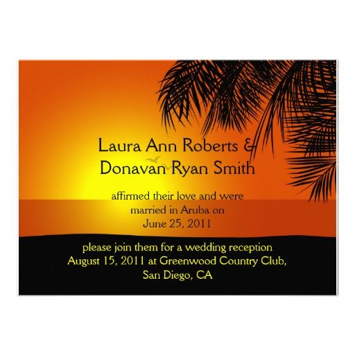 Tropical Sunset Palm Trees Post Wedding Invitation