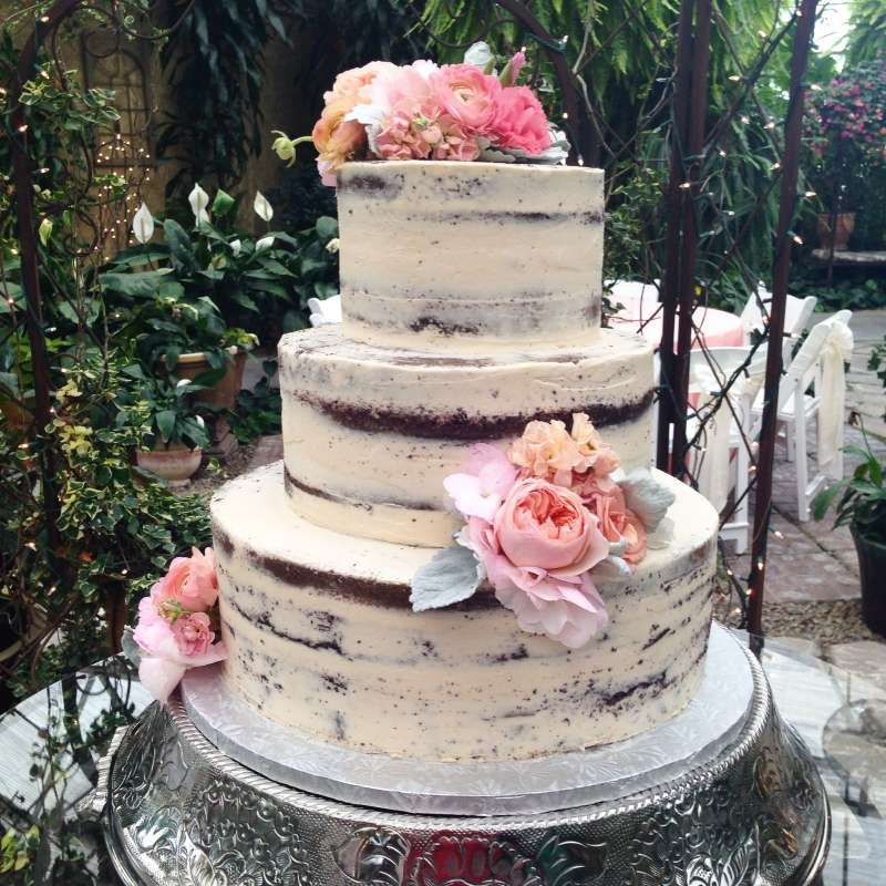 Buttercream Wedding Cakes And Desserts: Naked Buttercream Cake With Big Pink Flowers For A