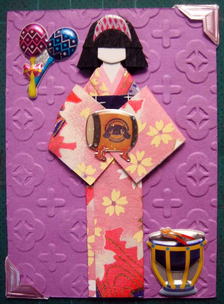 ATC257 - Band Practice. ATC with handmade Japanese paper doll.