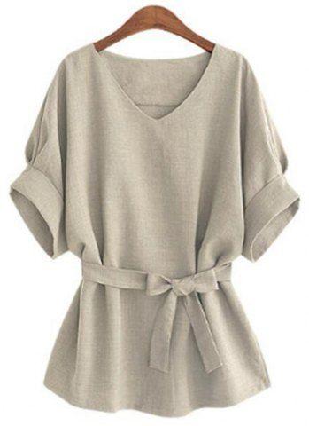 Summer Women Short Sleeve Vintage Loose Casual Tops Blouse Shirt Dress Plus Size