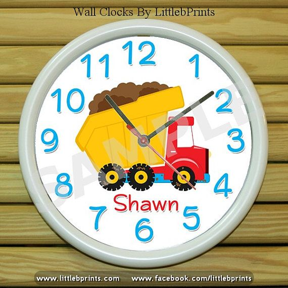 Personalized Wall Clock Dump Truck Construction Personalized Decor Personalize With Your Photo Logo Or Art