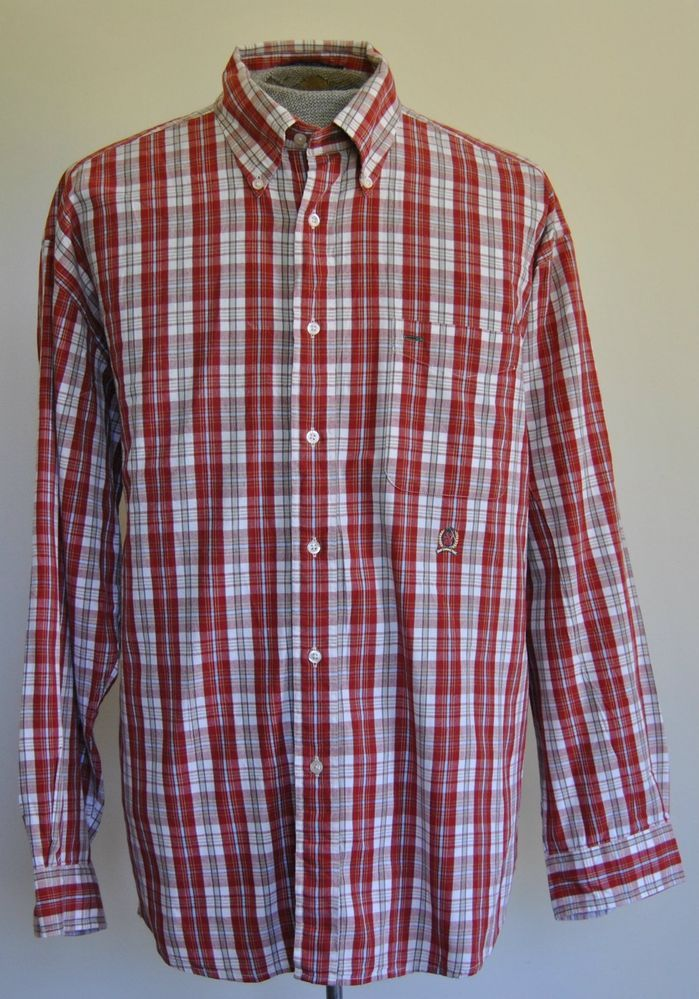 Tommy Hilfiger Mens Shirt XL Long Sleeve Red Plaids & Checks Button-Down Cotton  #TommyHilfiger free shipping auction starting at$10.99