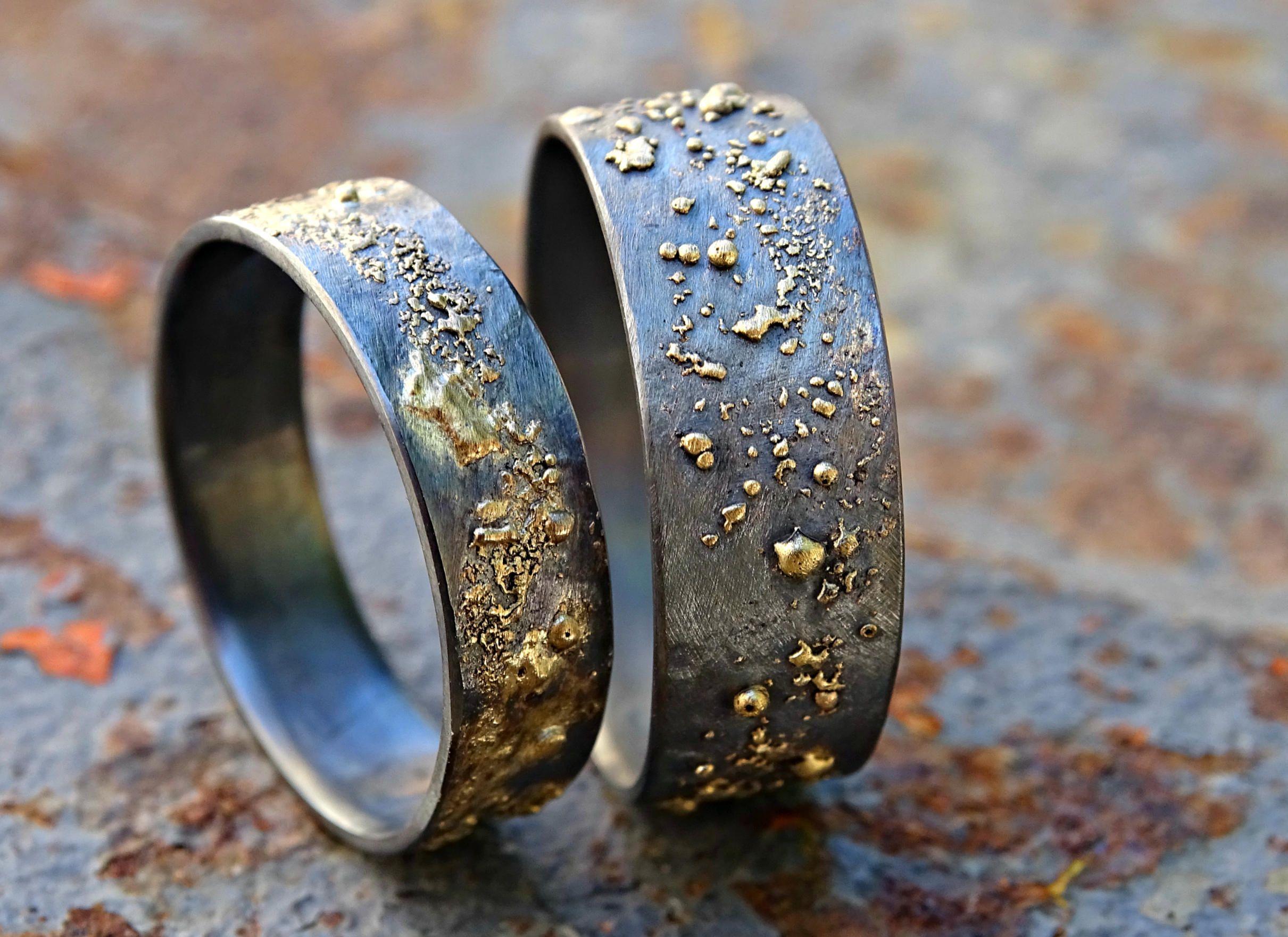 Unique wedding bands gold silver, molten wedding ring set