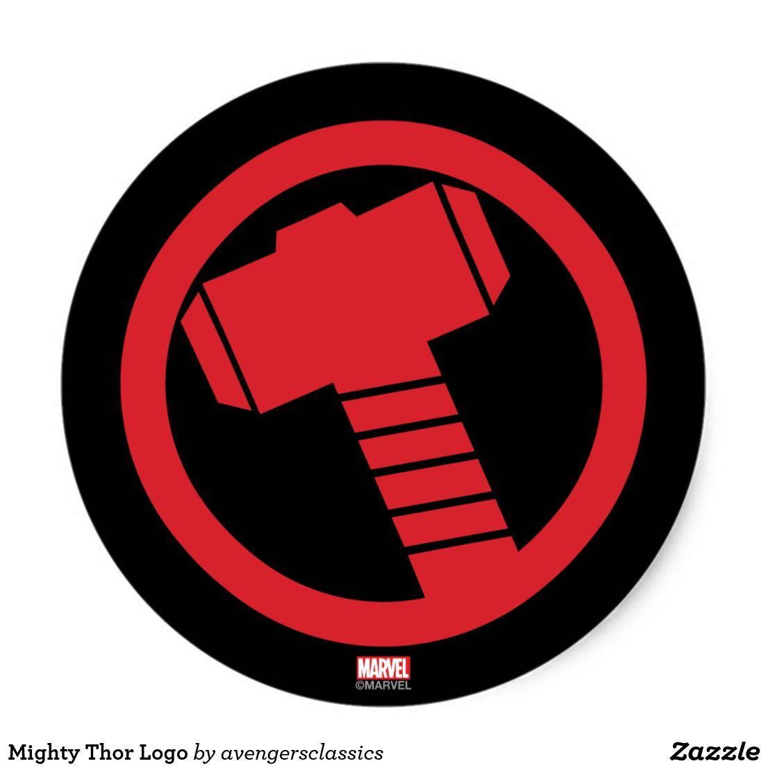Mighty Thor Logo Classic Round Sticker Zazzle Com Com Imagens