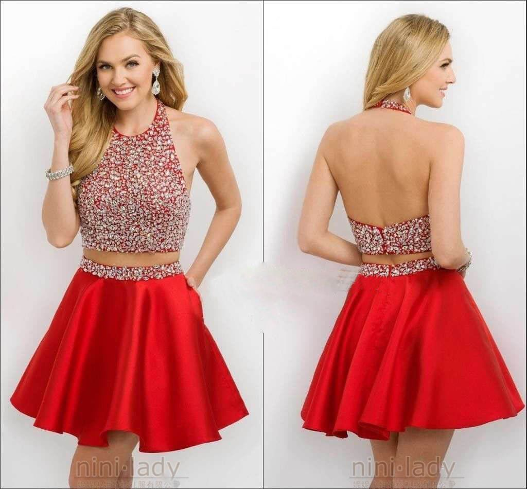 Cool great red beaded homecoming dresses two piece shortmini ball
