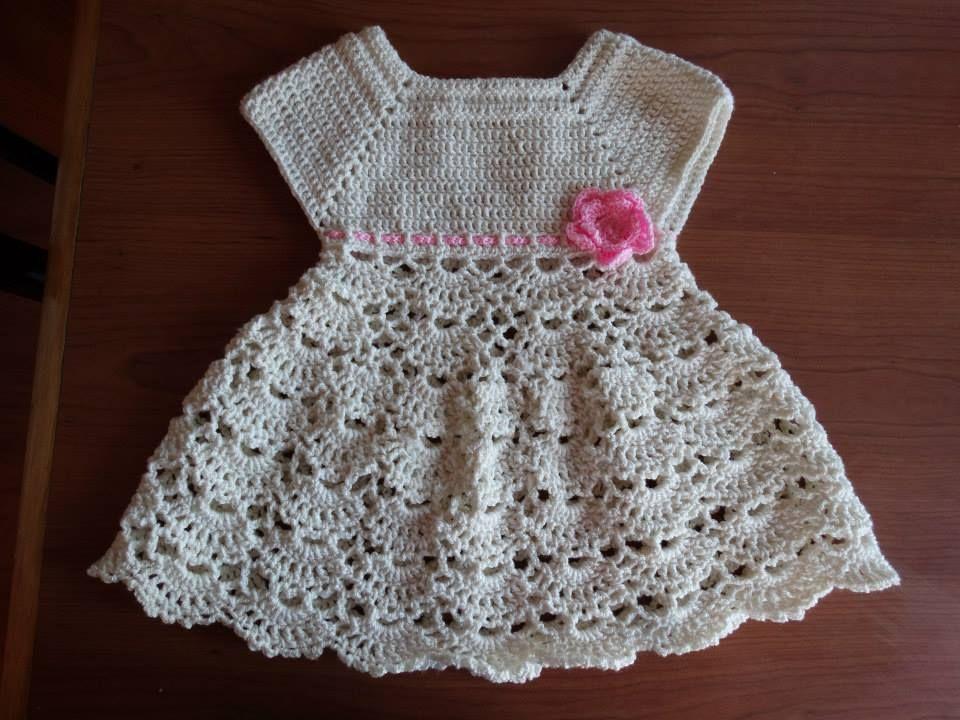 Lanas Oveja Negra: Vestido bebé tejido a crochet | Patrones a ...