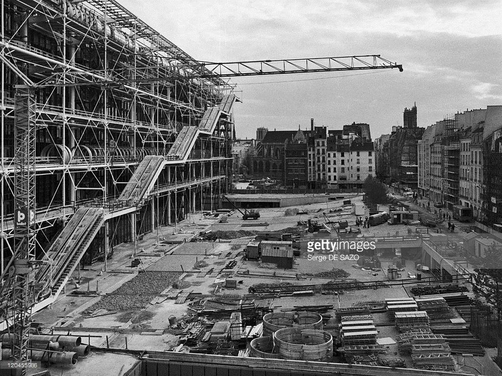 Construction Of Centre Georges Pompidou In Paris.1976.