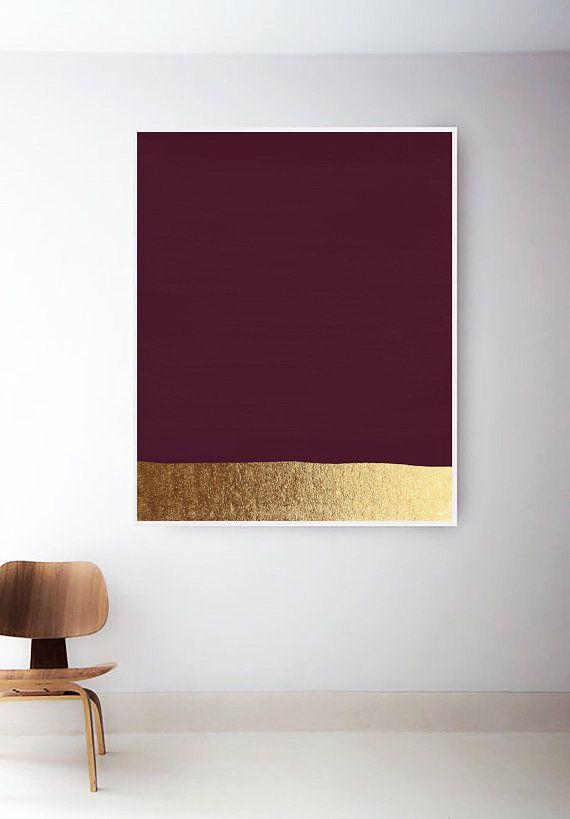 Red Violet Print. Gold Art. Dark Pink Art Print. Gold Print. Modern Art Prints. Magenta Painting. Abstract Paintings. Minimal Gold Wall Art #wallphone