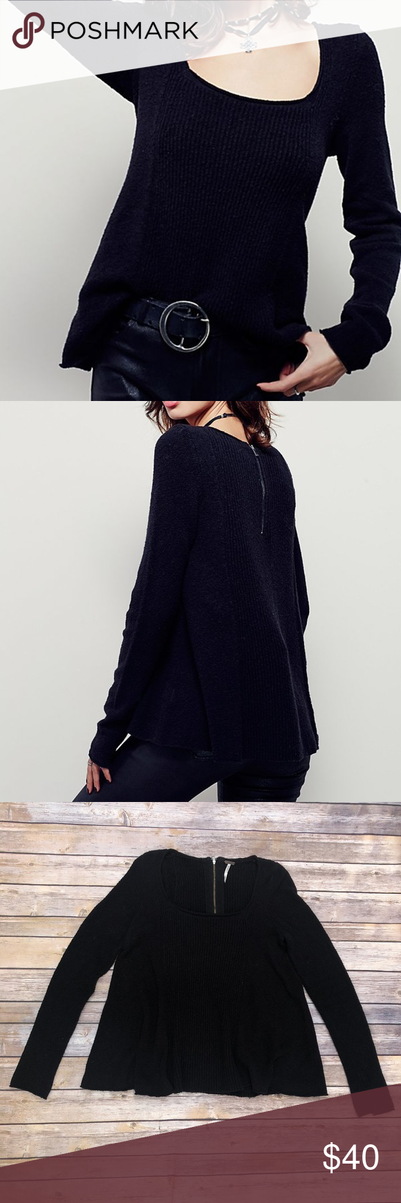 a956bebc55710 Free People Swing Out Sister Sweater Free People Swing Out Sister Sweater  Color black Ribbed detailing down the center Low scoop neck Exposed back  zipper ...