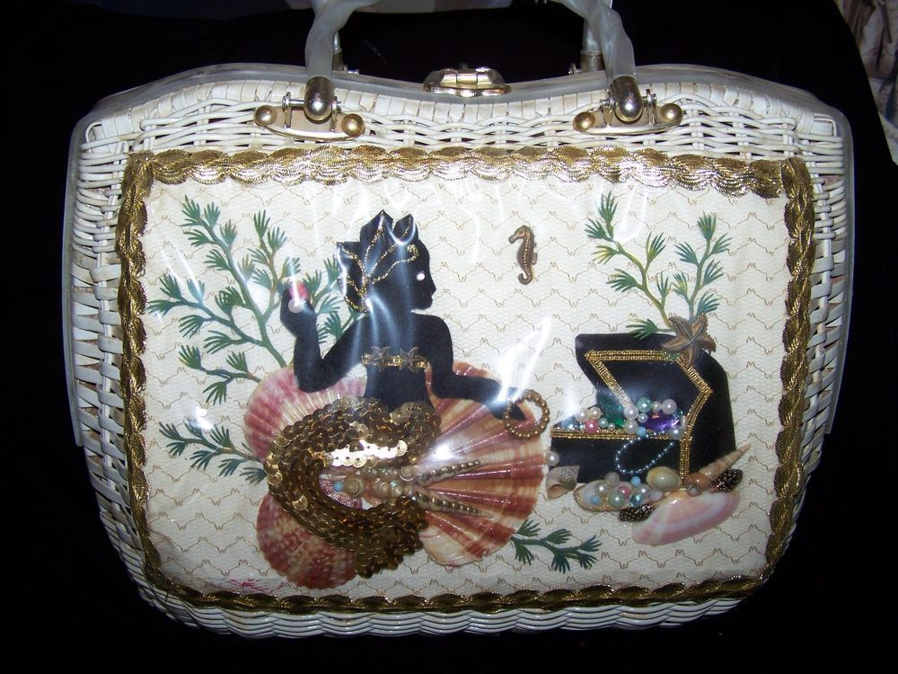 Vintage Wicker And Lucite Mermaid Purse
