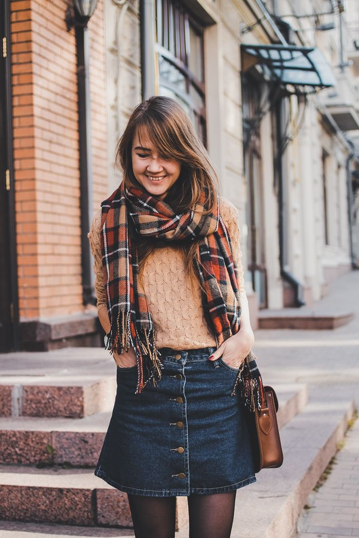 autumn, winter, denim skirt, cable knit, jumper, winter, style, casual, fashion, tartan, scarf, satchel